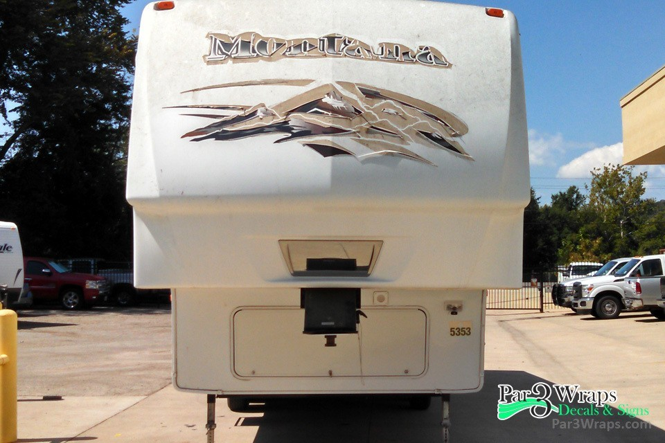 We can replace the decals on your rv or trailer par 3 wraps