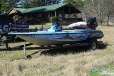 Bass fishing boat wrap with matching console